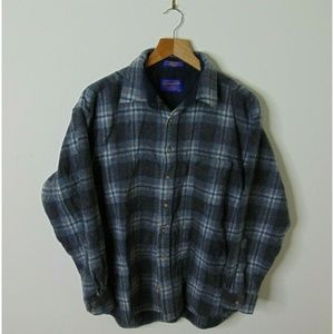 Pendleton Shirts - Pendleton L Virgin Wool Flannel Shirt Blue Gray